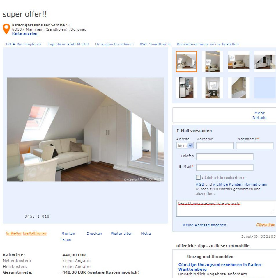 Immobilienscout24: Wohnungsbetrug.blogspot.com: Weitere Betrugsangebote Der
