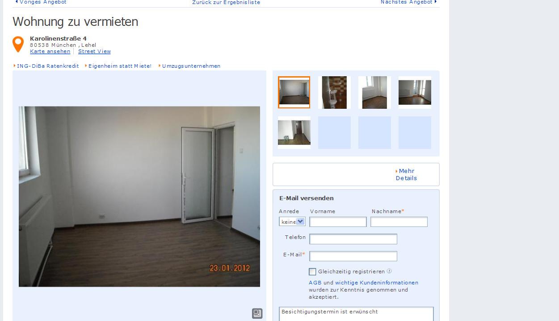 ritter uta wohnung zu vermieten karolinenstra e 4. Black Bedroom Furniture Sets. Home Design Ideas