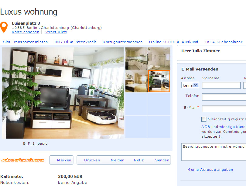 wohnung 2 zimmer h benerstra e 1 gegen wohnungsbetrug against rental scammers. Black Bedroom Furniture Sets. Home Design Ideas