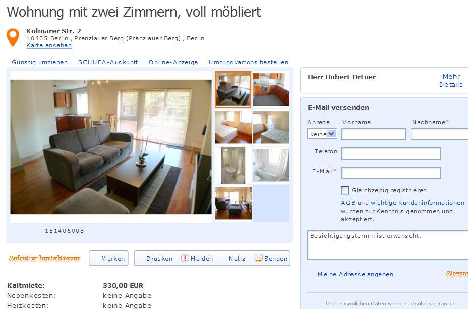 Wohnung mit zwei zimmern voll m bliert gegen for Zwei zimmer wohnung berlin