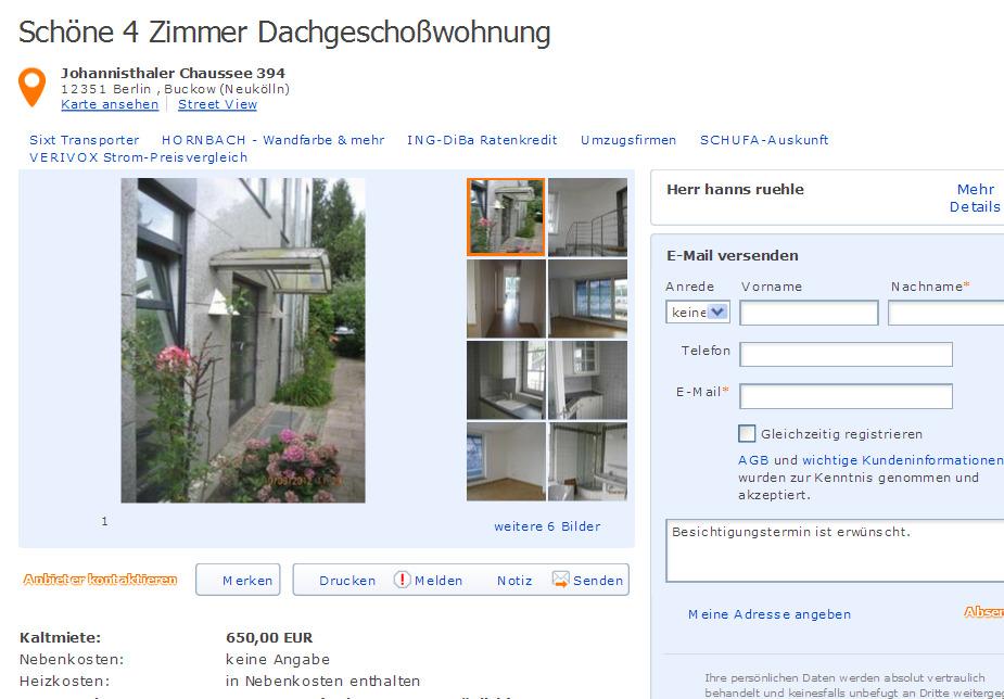 sch ne 4 zimmer dachgescho wohnung johannisthaler chaussee 394 12351 berlin buckow neuk lln. Black Bedroom Furniture Sets. Home Design Ideas
